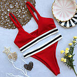 Женский раздельный купальник красный, белый и черный, фото 5