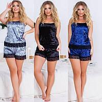 Пижама женская, большого размера, велюровый комплект топ + шортики с кружевами, от 48 до 56 размера