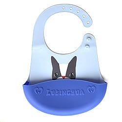 Детский слюнявчик нагрудник силиконовый с карманом Голубой кот