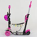 Самокат трехколесный Best Scooter 5в1 малиново-белый с бабочками и светящимися колесами деткам от 1 года, фото 4