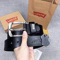 Ремень мужской кожаный Levi's черный в подарочном наборе, фото 1