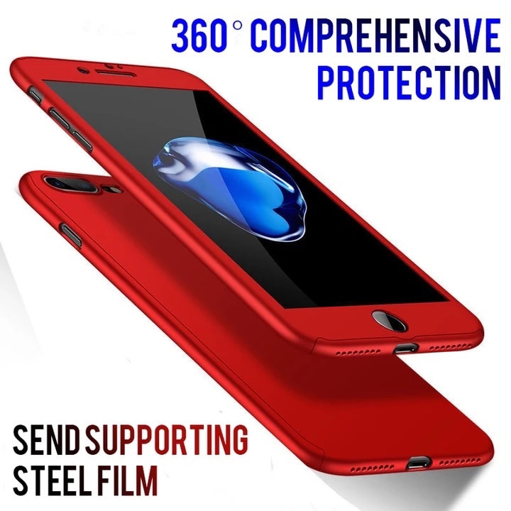 Чехол 360 градусов противоударный + стекло  для Iphone 5/5S/5SE red