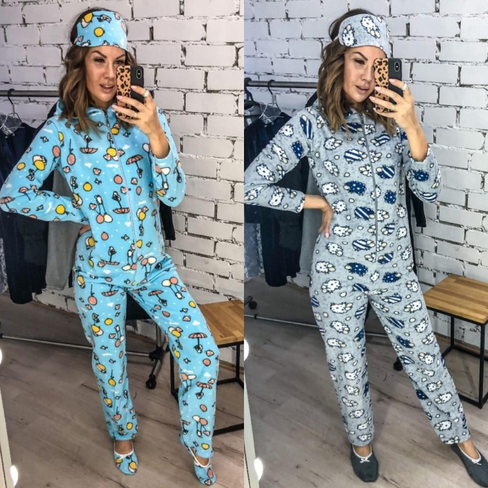 Пижама - комбинезон, женская, мягкая, приятная, теплая, тапочки и повязка в комплекте, до 48 р-ра