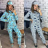 Пижама - комбинезон, женская, мягкая, приятная, теплая, тапочки и повязка в комплекте, до 48 р-ра, фото 1
