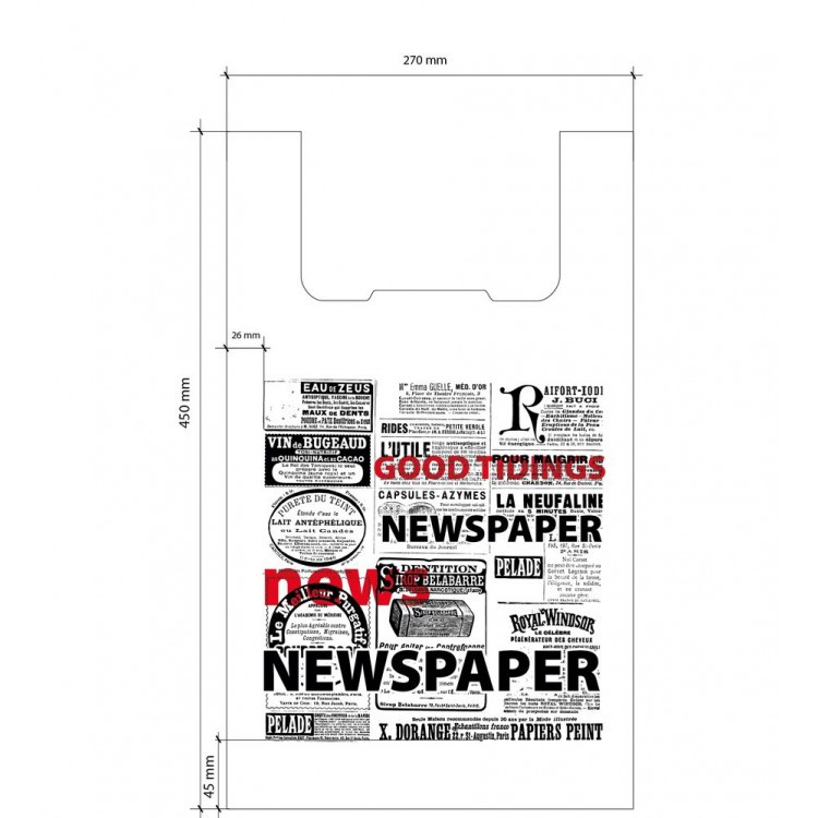 Пакет поліетиленовий майка 270*450 мм Газета