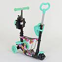 Самокат трехколесный Best Scooter 5в1 бирюзовый с цветами и светящимися колесами деткам от 1 года, фото 6