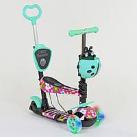 Самокат трехколесный Best Scooter 5в1 бирюзовый с цветами и светящимися колесами деткам от 1 года