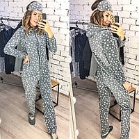 Пижама - комбинезон, женская , мягкий плюш, легкая, мягкая, приятная, теплая, тапочки и повязка, до 48 р-ра, фото 1