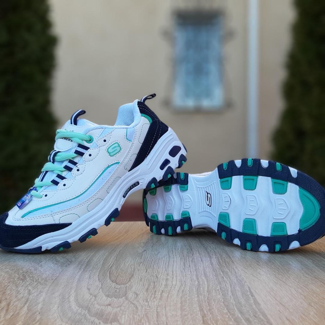 Женские кроссовки Skechers D'Lites (бело-синие с бирюзой)