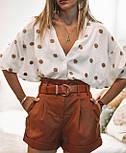 Женская стильная белая рубашка с декором в рельефный горошек копия Zara, фото 4