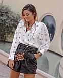 Женская стильная белая рубашка с декором в рельефный горошек копия Zara, фото 5