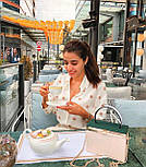 Женская стильная белая рубашка с декором в рельефный горошек копия Zara, фото 6