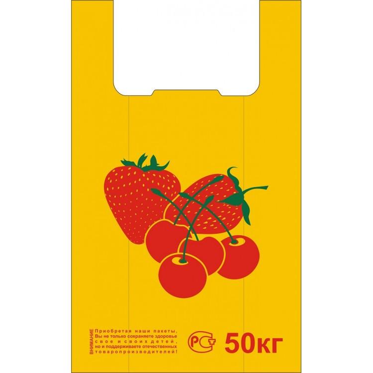 Пакет поліетиленовий майка 300*550 мм Полуничка