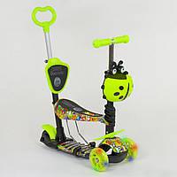 Самокат трехколесный Best Scooter 5в1 салатовый с граффити и светящимися колесами деткам от 1 года