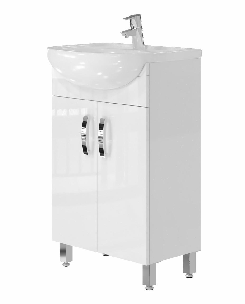 Тумба для ванной Juventa Trento Trn-50 с умывальником Сити-50 белая