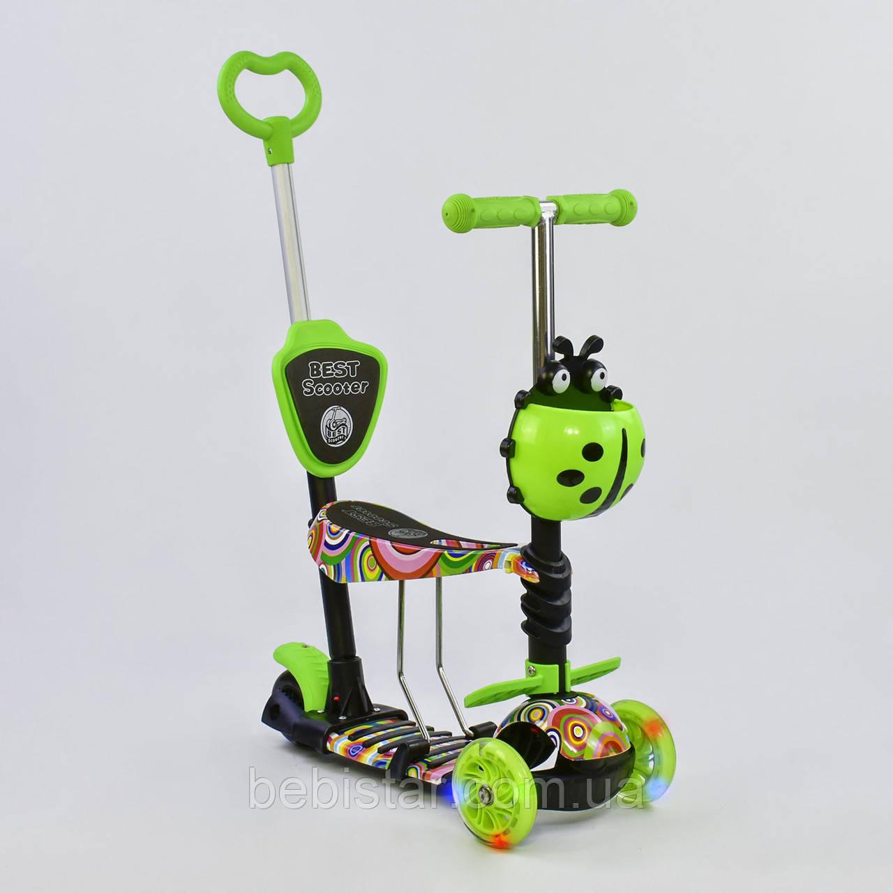 Самокат трехколесный Best Scooter 5в1 салатовый с абстракцией и светящимися колесами деткам от 1 года