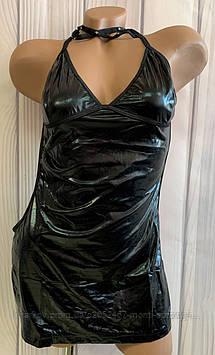 Мини платье под эко кожу