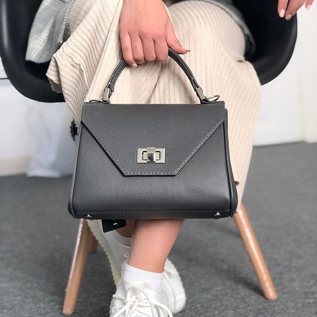 Жіноча шкіряна сумка темно-сіра CAPETOWN S