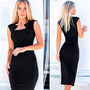 Черное платье-футляр Amely (Код MF-424)