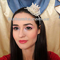 Жемчужный обруч для волос с короной кремового цвета Айвори