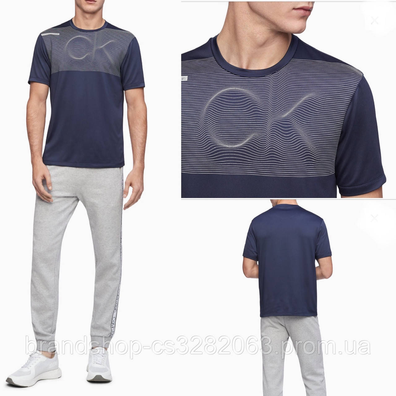 Мужская футболка Calvin Klein LINEAR WAVE LOGO CREWNECK T-SHIRT