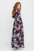 Платье макси марсала цветочный принт длинным рукавом и поясом