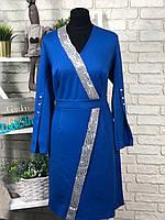 """Великолепное женское платье с паетками ткань """"Французский трикотаж"""" 52 размер батал"""