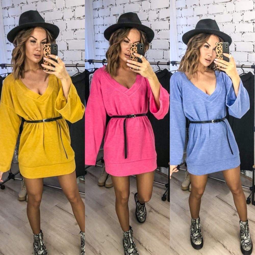 Платье-туника женское, теплое, джерси, свободное, повседневное, прямое, удобное, стильное, пояс в комплекте