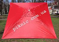 Зонт торговый, садовый 2х2м (Серебро+Клапан). Мощный зонт для уличной торговли. Красный!