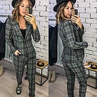 Костюм брючный женский, пиджак и брюки, в клетку, кашемир, офисный, повседневный, модный, стильный, фото 1