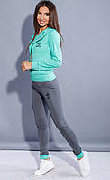Женский спортивный костюм фитнес тройка (мятный)