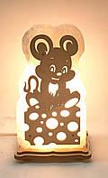Соляний світильник Миші на сирі