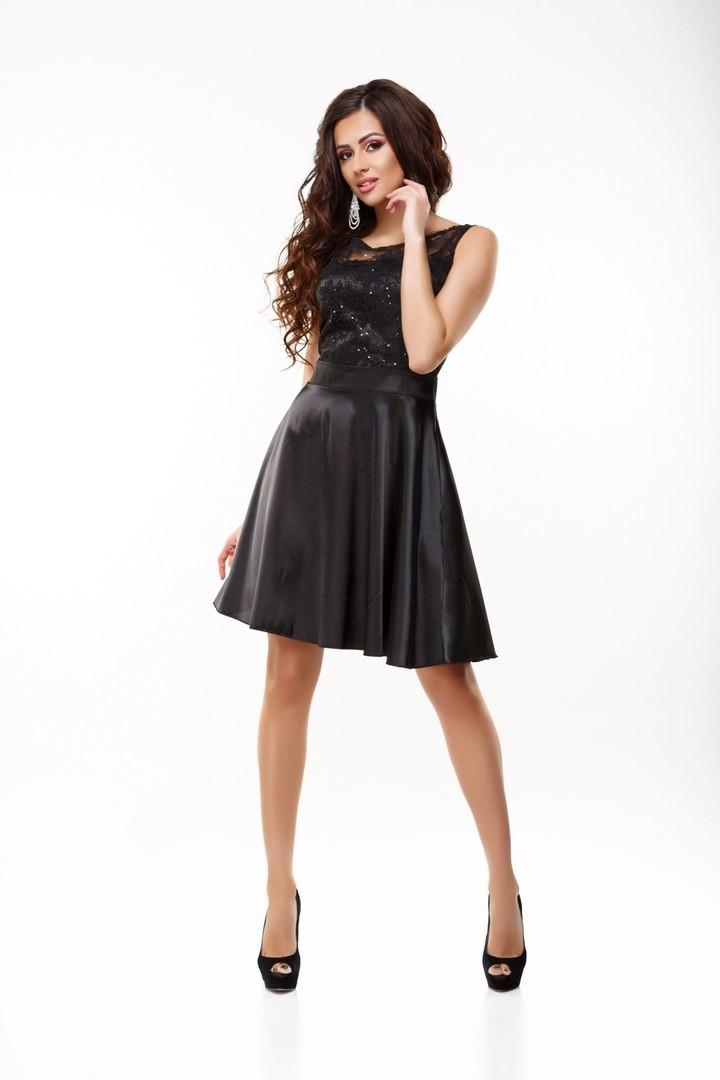 """Шикарное женское платье с вышивкой и пайетками ткань """"Атлас"""" 42, 44, 46 размер норма"""