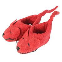 Пинетки валяные Мышки Kathmandu 100% шерсть яка Ручная работа 11х7 см Красный (19767)