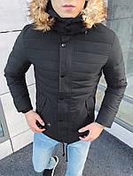Мужской зимний пуховик с мехом