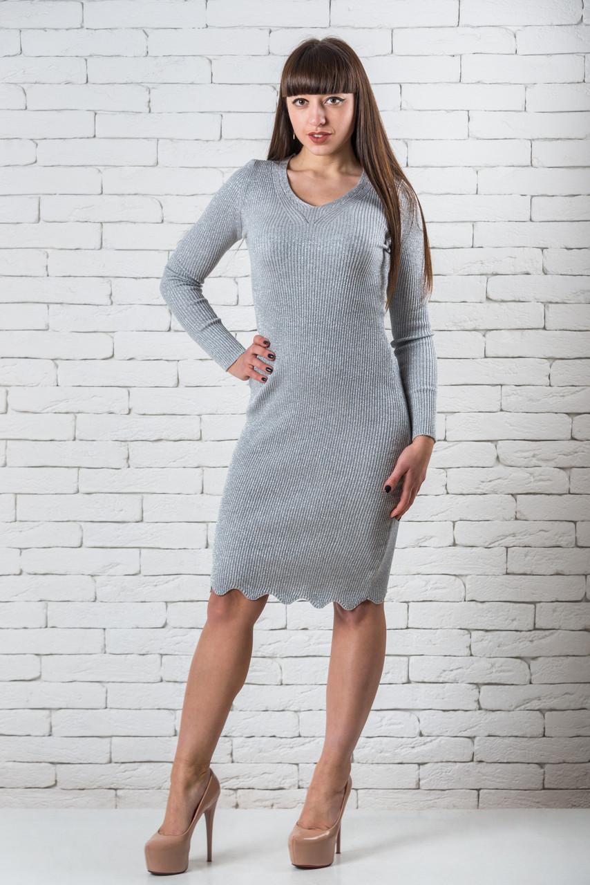Платье стильное  женское миди 42-48 светло-серый