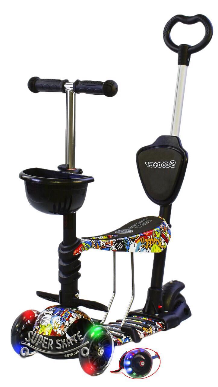 Детский Самокат Беговел scooter 5 в 1 - Самокат С подсветкой - Комикс