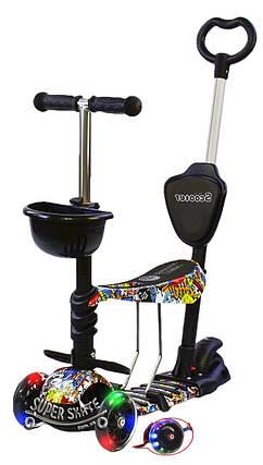 Детский Самокат Беговел scooter 5 в 1 - Самокат С подсветкой - Комикс, фото 2