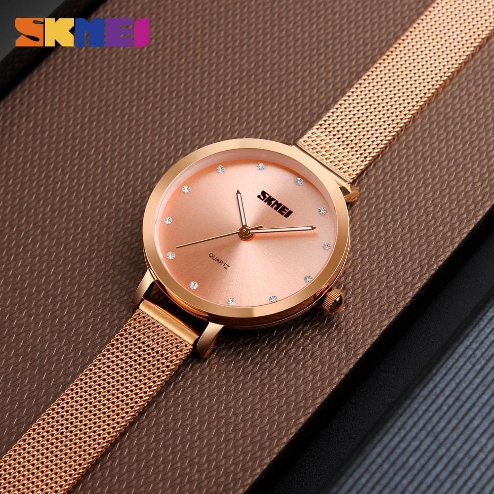 Skmei 1291 angelus розовое золото женские часы