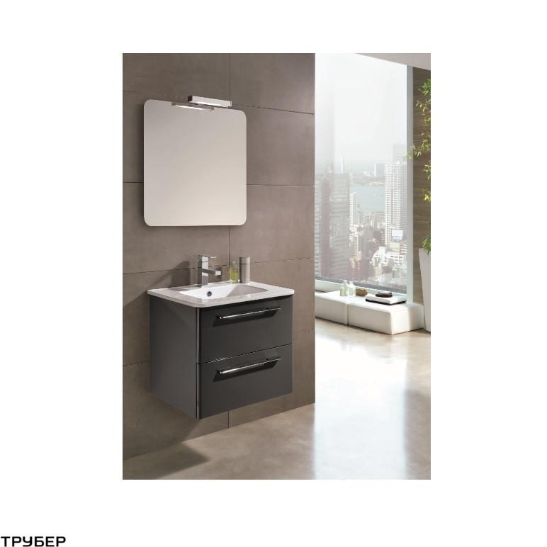 C0072913 KLEA Комплект мебели: тумба+раковина+зеркало 80см, серый глянцевый