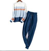 Костюм женский двойка свитер и штаны, синий в полоску  размер S/M, опт, фото 1