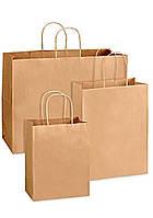 Бумажные  крафт пакеты с ручками 260х340х140мм Бурые