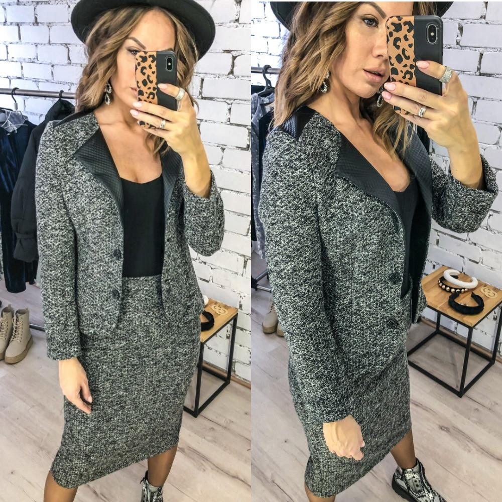 Костюм двойка женский, букле, теплый, пиджак + юбка карандаш, повседневный, офисный, модный, стильный, до 48 р