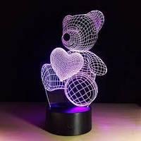 Ночник 3D Мишка, 3 режима свечения