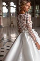 Свадебное платье бант юбка атлас, фото 1