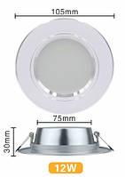 Белые LED светодиодные потолочные светильники 12 Вт 220 В, врезные точечные