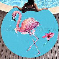Круглое пляжное полотенце покрывало Фламинго, Голубой, диаметр 165