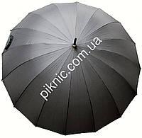 Большой семейный, мужской зонт трость. 16 спиц. Полуавтомат. Антиветер. Диаметр купола 120 см. Ручка прямая.