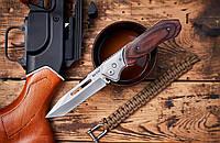Выкидной нож Щит 2, бокового выброса с предохранителем и деревянными накладками