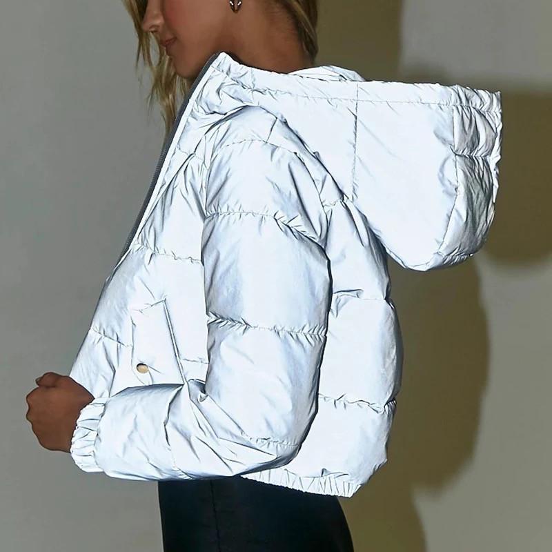 Женская короткая светоотражающая куртка пуховик с капюшоном 7101234